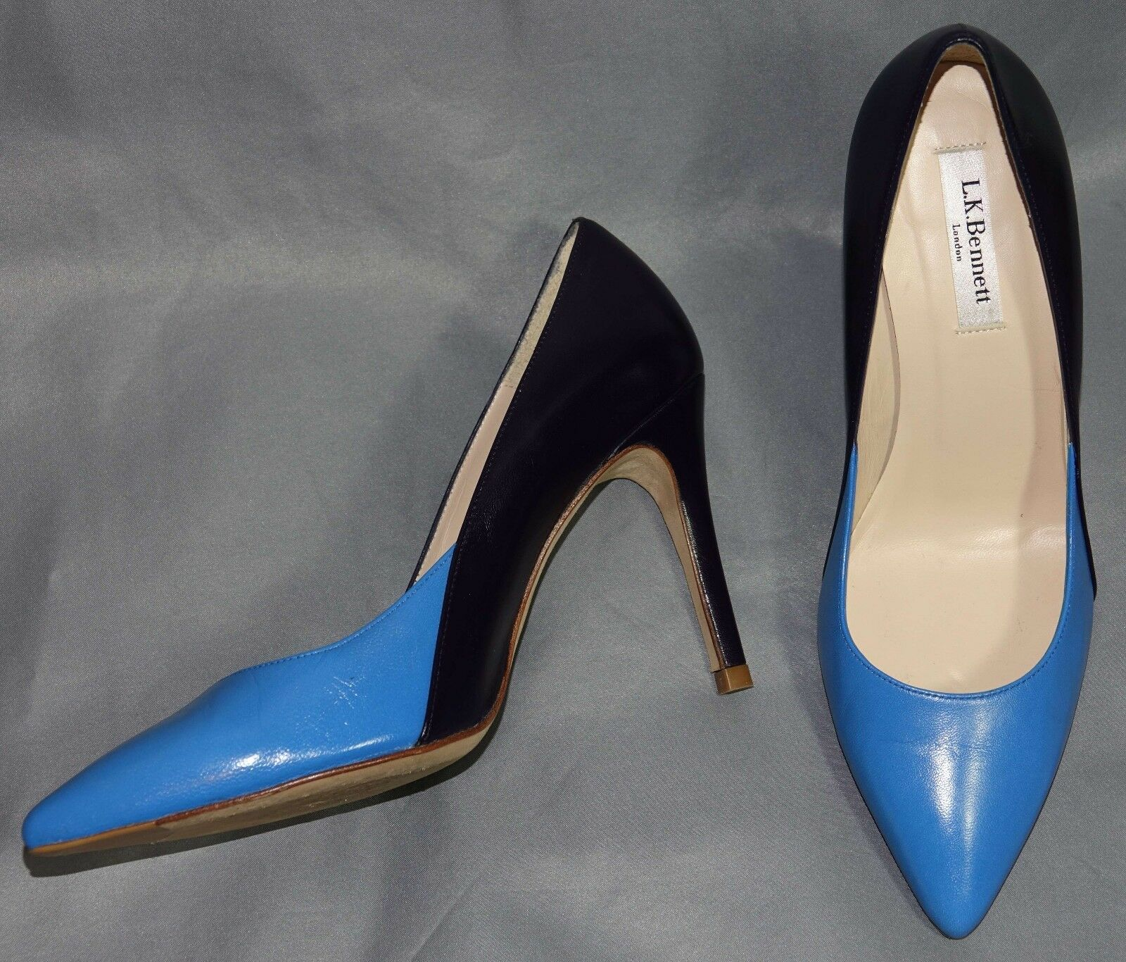 L.K. Bennett Blau & Navy Leder Stiletto Heel Pointy Toe Court Schuhes - Größe 6.5