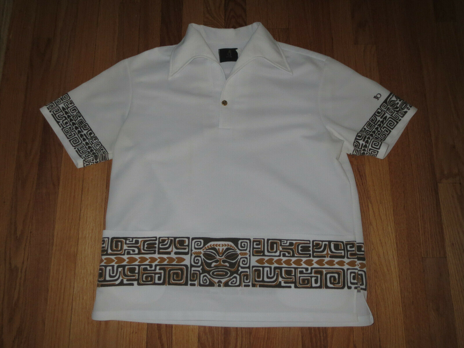 Vtg 70's IO Brand Hawaiian Tiki Man Shirt Men's XL RARE