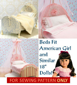 SEWING-PATTERN-MAKE-DOLL-BEDS-BEDDING-FITS-AMERICAN-GIRL-SAMANTHA-REBECCA