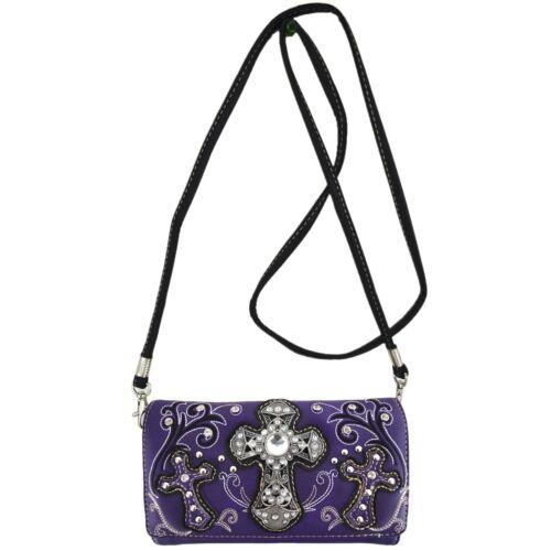 Western Style Cross Handbag Concealed Carry Purse Women Shoulder Bag Wallet