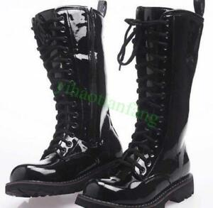 military-Mens-shiny-punk-boots-Mid-Calf-patent-leather-Strappy-motorcycle-shoes