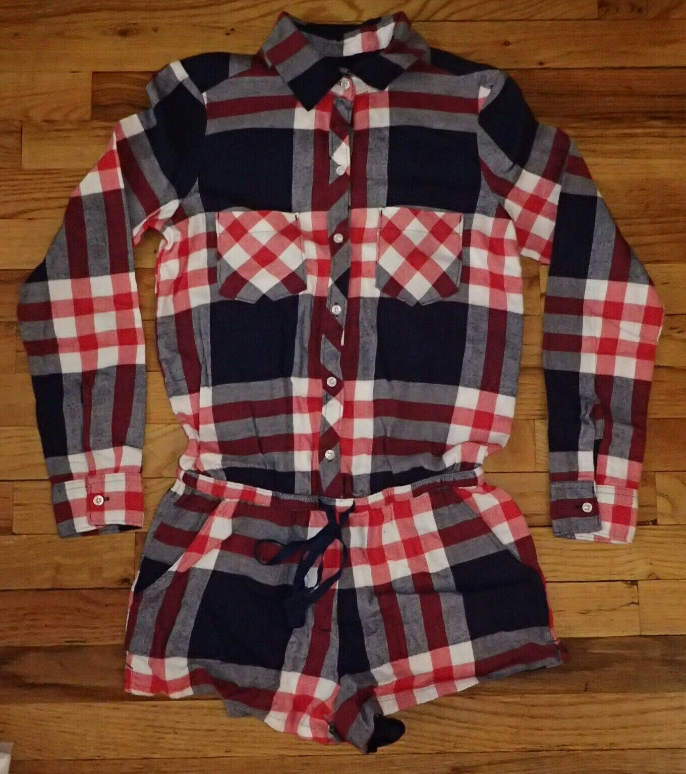 Aerie bluee White Red Plaid Pajama Romper XS - New