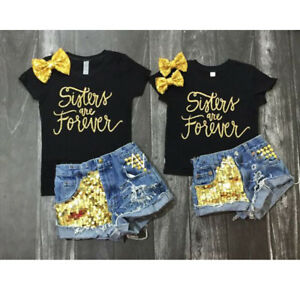 2PCS-Toddler-Kids-Baby-Girl-T-shirt-Tops-Denim-Shorts-Pants-Outfit-Clothes-Set