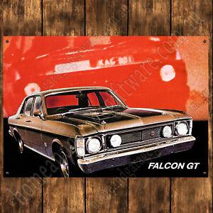 ALUMINIUM-SIGN-200MM-X-285MM-FORD-FALCON-1969-XW-GT-GOLD