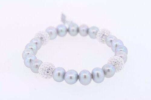 8-9 Mm Gris Argent Véritable Culture D/'eau Douce Pearl /& Crystal Stretch Bracelet