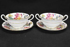 Royal-Cauldon-Malvern-V9685-Pair-of-Cream-Soup-Bowls-amp-Saucers