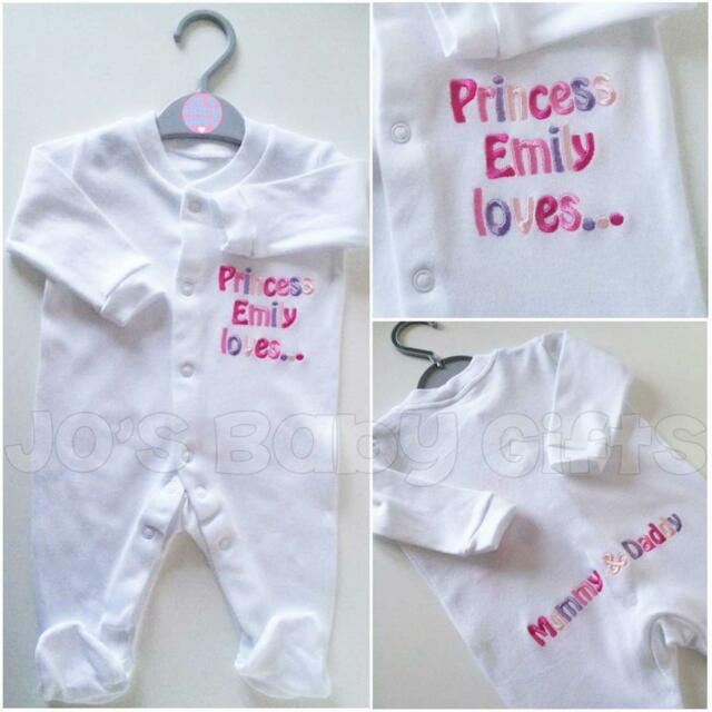 Personalised Sleepsuit Baby Grow Clothes, Any wording Embroidered, Unique Gift