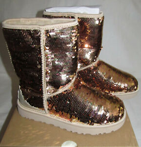 New UGG Sequin Classic Short Rose Gold