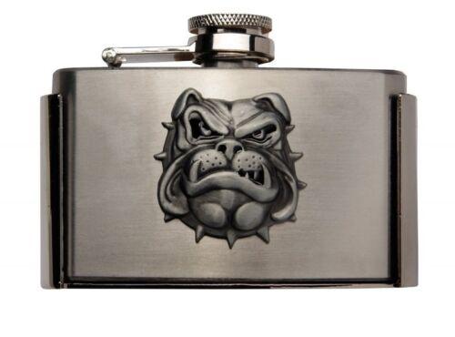Gürtelschnalle Buckle mit Taschenflasche Flachmann Bulldog Hund Punk oi Biker