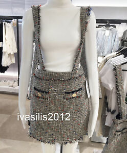 7d49b82b130153 Details about ZARA NEW TWEED MINI SKIRT WITH BRACES FRAYED HEM VINTAGE  STYLE SIZE:M 7945/650