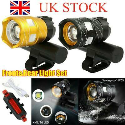 LED T6 MTB Rear/&Front Kit 15000LM Bicycle Lights Bike Headlight USB Rechargeable