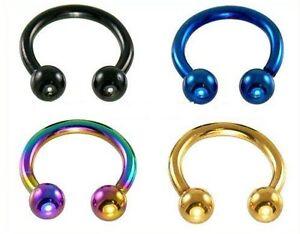 Piercing fer à cheval 1,2 mm faite votre choix entre 4 couleurs et 2 tailles