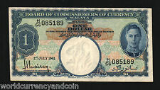 MALAYA MALAYSIA $1 P11 1941 KING GEORGE VI AUNC CURRENCY MONEY BILL BANK NOTE