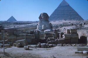 Pyramid of Khafre and the Great Sphinx Cairo Egypt 1965 Vintage Kodachrome Slide