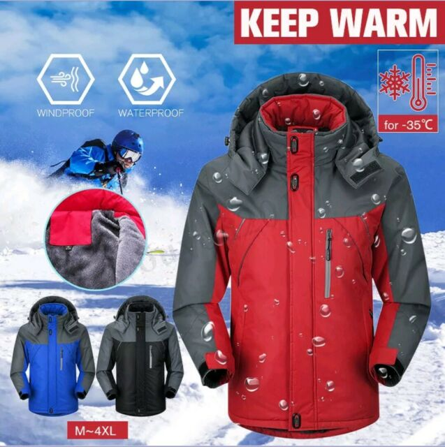 4683df0bfdd Men Women Winter Warm Outdoor Jacket Fleece Lined Waterproof Ski ...