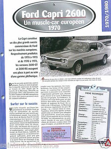 Ford-Capri-2600-RS-Coupe-V6-1970-Germany-UK-USA-Car-Auto-Retro-FICHE-FRANCE
