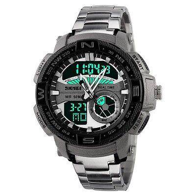 Digital Men Quartz Luxury Sport Army Analog Date LED Stainless Steel Wrist Watch