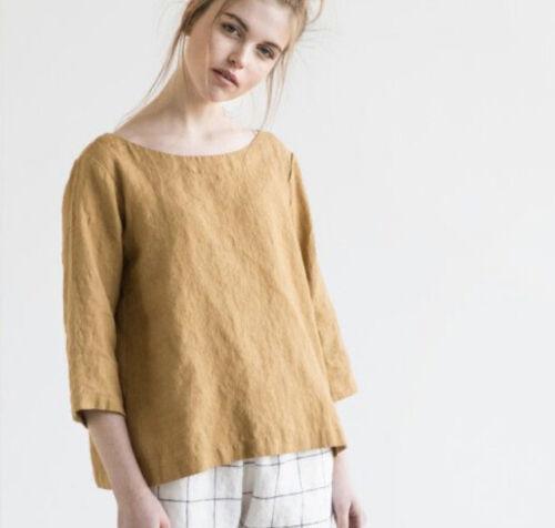 Not Perfect Linen Mustard Yellow Top Shirt Blouse