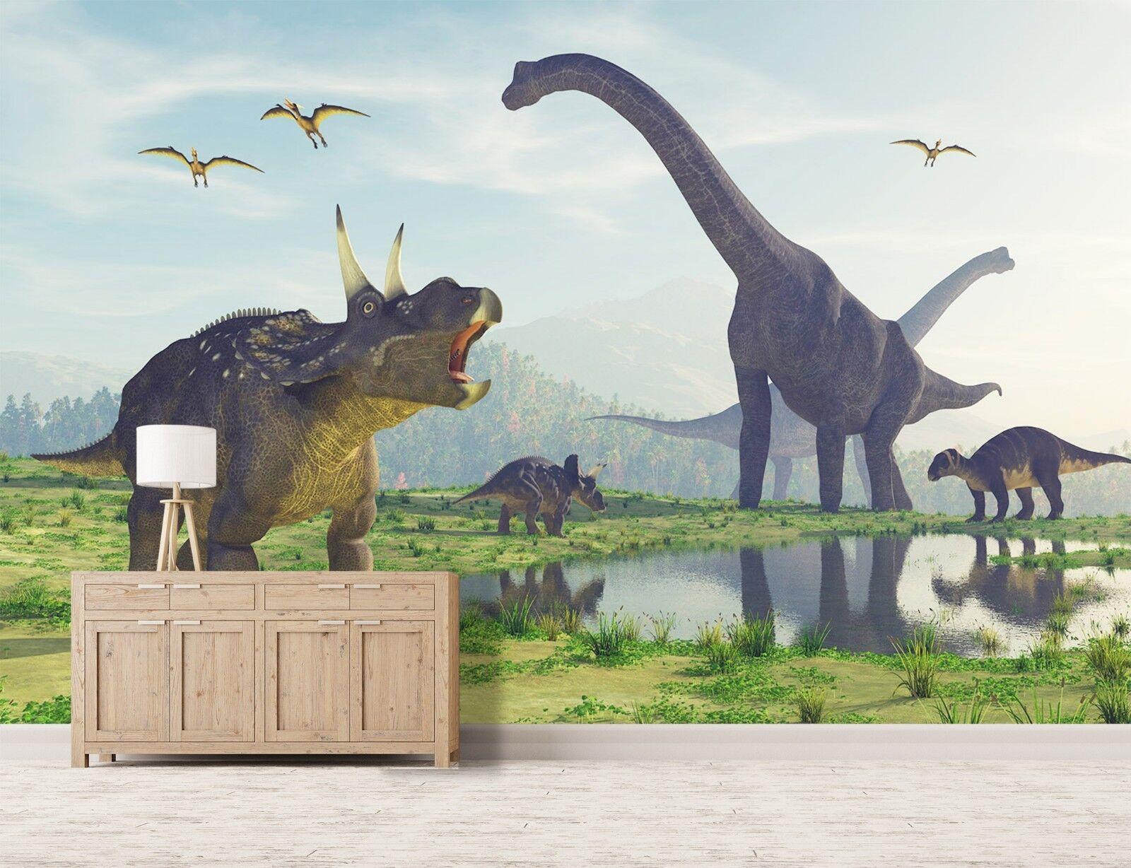 3D Dinosaurier Gruppe Wiese 2 Tapete Wandgemälde Tapete Tapeten Familie Kinde DE