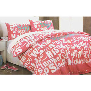 ADAIRS-SLEEPYHEAD-Coral-Pink-Embroidered-SINGLE-Quilt-Duvet-Cover-Set-COTTON