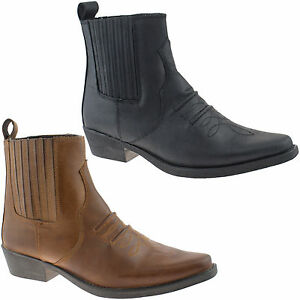 Para-Hombre-gringos-Cowboy-Cuero-Botines-Talle-Uk-6-12-Negro-o-marron-m841-Kd