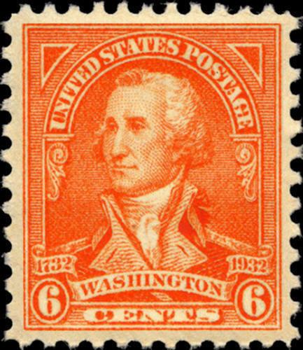 1932 6c G. Washington, John Trumbull, Red Orange Scott
