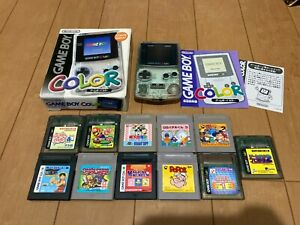 GameBoy Color console Clear Color with BOX and Manual & 11Games