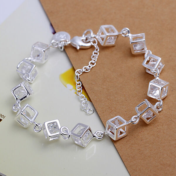 New Women's 925 Sterling Silver Plated Charm Crystal Cuff Chain Bracelet Bangle