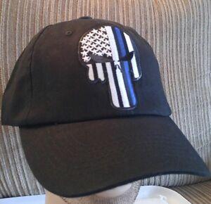 Blue Line Punisher Skull Baseball Cap Police U.S.A. Flag Blue Lives ... a80f5779cb7