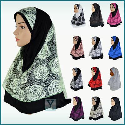 1 Pezzi Pizzo Fiore Hijab Amira Stretch Abaya Sciarpa Pull On Ready Made Instant- Completa In Specifiche