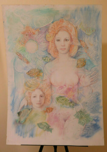 70x100 cm Tableau Vintage Peinture Technique de Mixte Nu Portrait Féminin P33.4