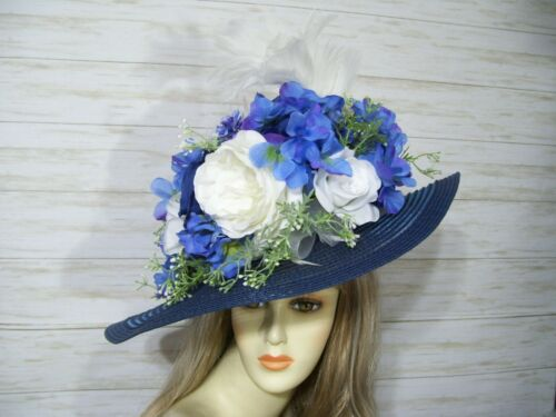 Steampunk Accessories | Goggles, Gears, Glasses, Guns, Mask   Blue and White Kentucky Derby Hat Easter Hat Church Hat Mothers Day Hat Tea $60.00 AT vintagedancer.com
