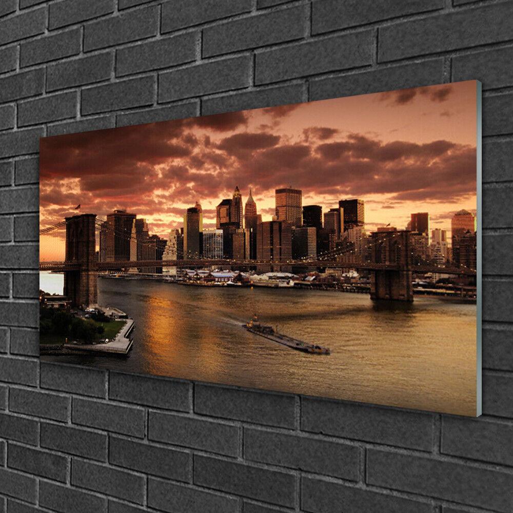 Image sur verre Tableau Impression 100x50 Bâtiments Ville Pont