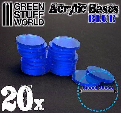 20x Acryl Basen 30mm RUNDE Modellbau Rollenspiele Tabletop Hobby TRANSPARENT