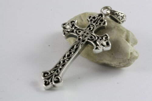 Templario cruz templarios lirios colgante dorado 925 real plata//487