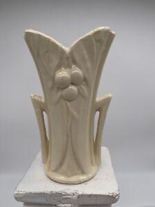Vintage-McCoy-Pottery-Cream-Color-Vase-Cherries-Berries-Leaves-6-034-Tall-1940s