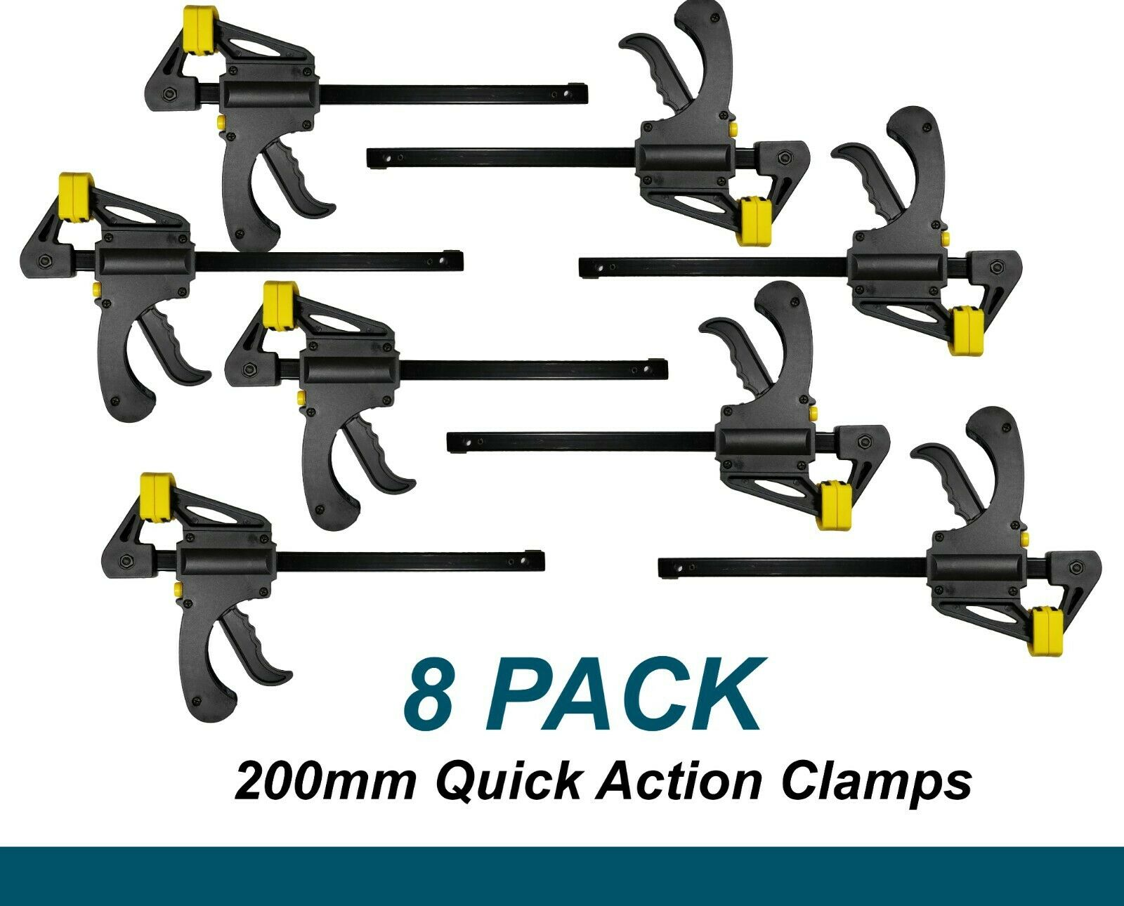 8 x 200mm Heavy Duty Quick Action Clamps for Woodworking etc