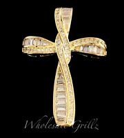 Ladies Fancy 14k Gold Gp Baguette Simulate Diamond Channel Set Cross Pendant