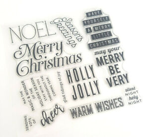 Christmas Words.Details About 12 Christmas Words Greetings Clear Rubber Stamps Xmas Sentiments Transparent Uk