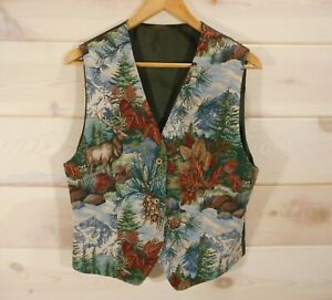 Vintage-Women-039-s-Vest-Size-M-38-034-Bust-Tapestry-Satin-Tie-Back-Mountains-Elk-Pine