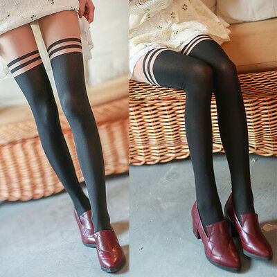 Mock Over The Knee Thigh High Lady Girl Sexy Sheer Stocking Pantyhose Tights Hot