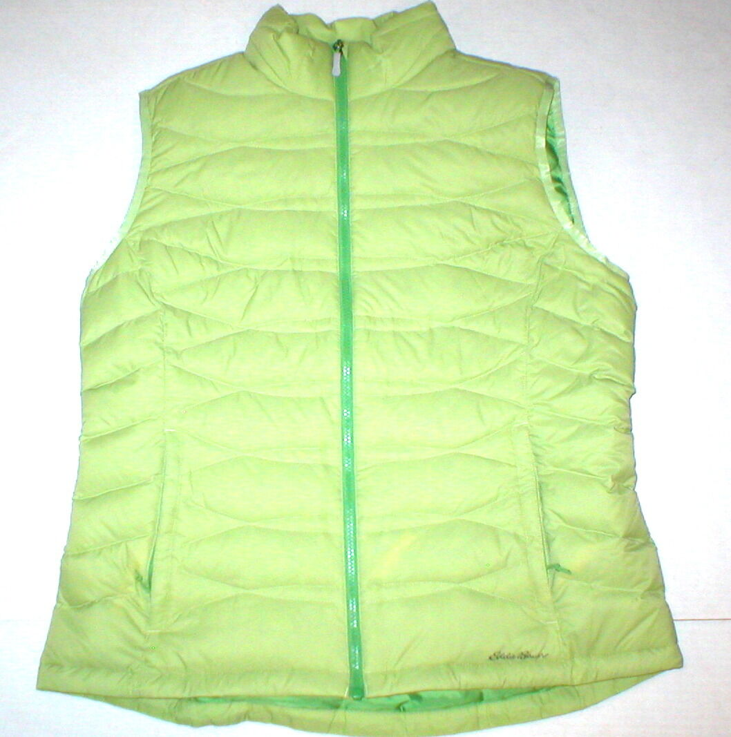 New Womens Eddie Bauer Vest M Light Green Down Warm Form Puff Fall Spring Cool
