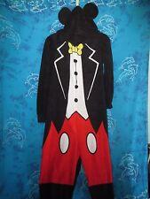 nwt Mickey Mouse Disney Hoodie with Ears Black & Red 1 Piece Fleece Pajamas XL