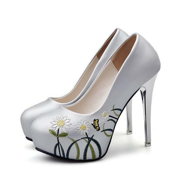 court schuhe winter closed silver daisies heel plateau 12 cm like Leder 8060