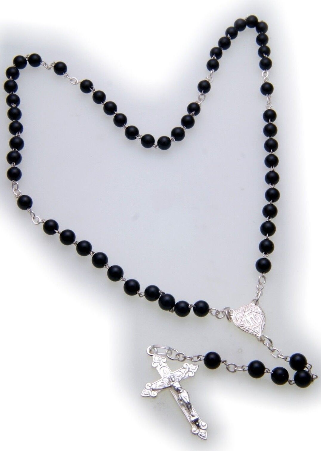 Halskette pinknkranz Kreuz Jesus silver 925 Sterlingsilver Onyx Kugel Unisex