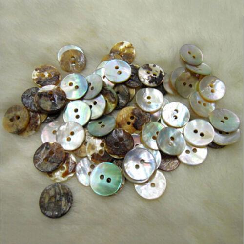 100 X Natürliche Perlmutt Runde Shell 2 Löcher Nähen Knöpfe  10xj