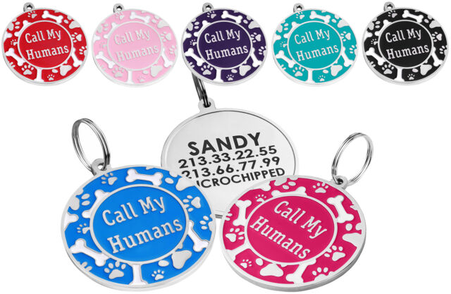Engraved Dog Tag Personalized Pet ID Custom Enamel Call My Humans