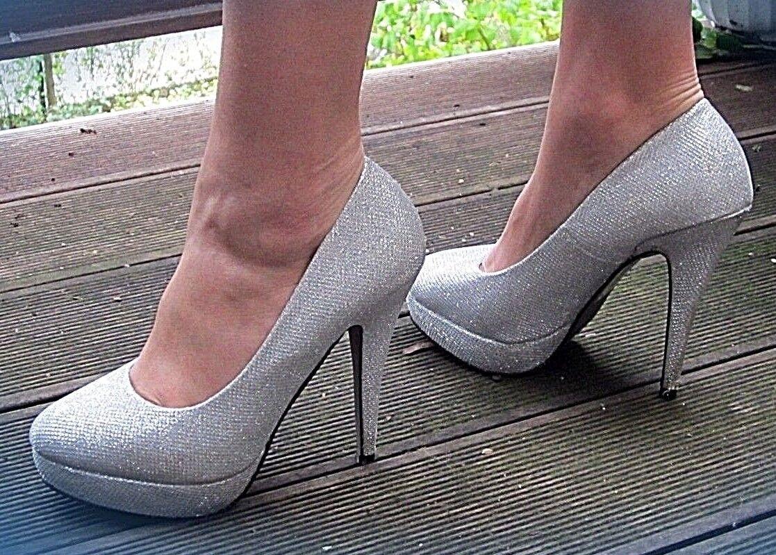 ● Elegant Bridal Shoes Platform High Heel Matt Silver 38 NEUW