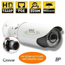 4MP IP Bullet Camera Electric Manual 2.8-12mm Lens Night Vision POE Vandalproof
