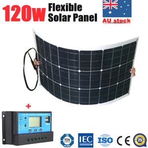 120w 12v Flexible Solar Panel Kit Caravan Boat 4wd Camping Battery Charging Pwm Ebay